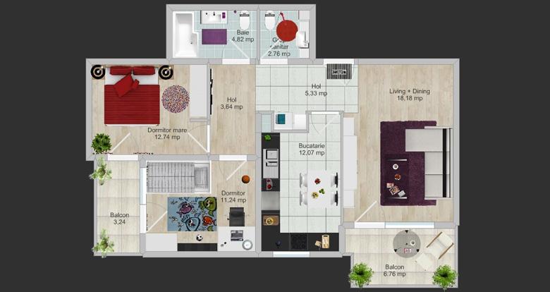 apartament cu gri